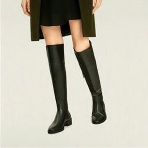 Zara Black Faux Leather Knee High Round Toe Boots